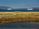 The Norwegian Dawn and The MV Artania in Gaspé Bay