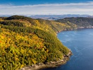Aerial view of the Saguenay Fjord in autumn